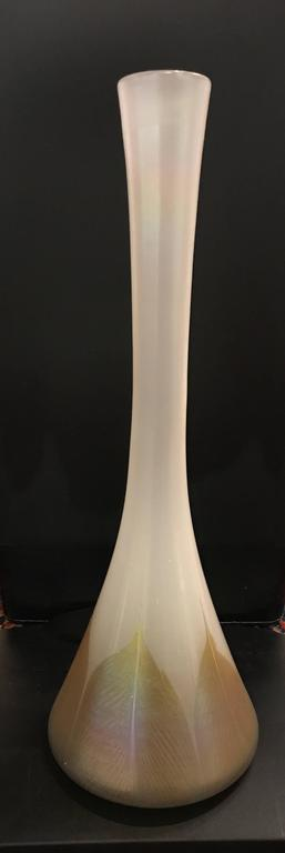 Louis Comfort Tiffany   Antique Original Signed LC Tiffany Favrile Art  Glass Feather LCT Vase 1