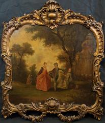 Large 18th Century French Oil Painting from School of Antoine Watteau