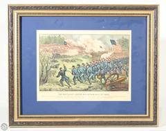 Rare Original Currier & Ives Hand Colored Lithograph Depicting Civil War Battle