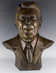 Large Museum Quality Life Size Bronze Bust of Ronald Reagan by Harland Young
