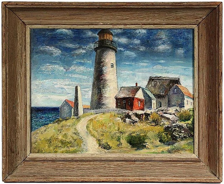 Outstanding Oil Painting by well listed American artist Samuel Brecher (active NY, 1897-1982)  Oil on Canvas  Titled – 'Pemaquid Lighthouse E Boothbay, ME'  Signed lower right 'S. Brecher'  Housed in a very nice custom chestnut distressed frame