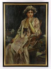 Large 19th Century Oil Painting – Portrait of a Woman
