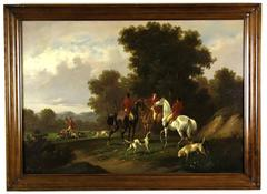 Impressive 19th Century Fox Hunt Oil Painting