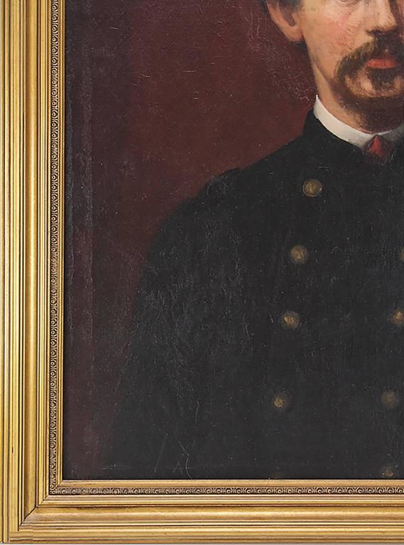 Outstanding 19th Century Civil War Oil Painting attributed to Famed American Portraitist Eastman Johnson (1824 – 1906)  Oil on Canvas  Painting is believed to be a portrait of famous Union Colonel Robert Gould Shaw, who lead the 54th Massachusetts