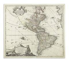 1720 Colonial Era Hand Colored Map of the Americas by Johann Baptist Homann