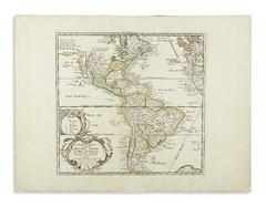 17th Century Antique Hand Colored Map of the Americas by Pierre Du Val