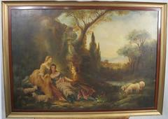 In the Manner of Nicolas Lancret – Large 18th Century Rococo Oil Painting
