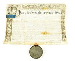 English Letters Patent Issued by King George II in 1749 on Vellum w/seal