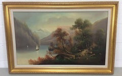 Riverscape Oil Painting Entitled Serene Sailing