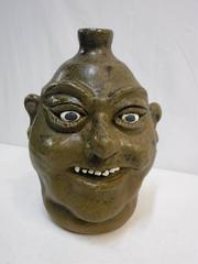 Rare Lanier Meaders Face Jug Signed & Dated 1988