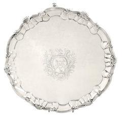 George II English Sterling Silver Salver – 1752 William Peaston