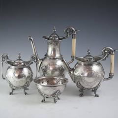 Civil War Era Sterling Silver Tea Set Presented Major General Hunt