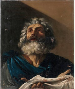 "Italian School Oil Painting in the Manner of Guercino Entitled ""Saint Pierre"""