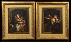 Pair of Antique Oil Paintings – Victorian Romantic Scenes