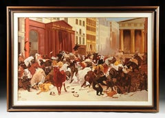 "Oil Painting After W. H. Beard Entitled ""New York Stock Exchange, Bulls & Bears"""