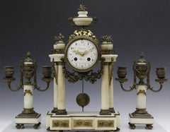 Antique French Bronze Mounted Marble Clock Candle Set