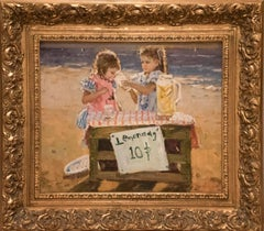 "Original Oil Painting Entitled ""Lemonade Stand on the Beach"""