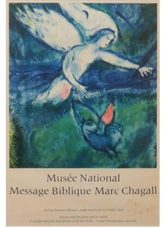 "Rare Marc Chagall Signed Lithograph Museum Poster of ""Musee National Message Bib"
