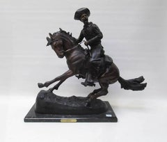 "Large Bronze Sculpture After Frederic Remington Entitled ""The Cowboy"""