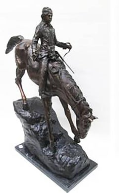 "Large Bronze Sculpture After Frederic Remington Entitled ""The Mountain Man"""