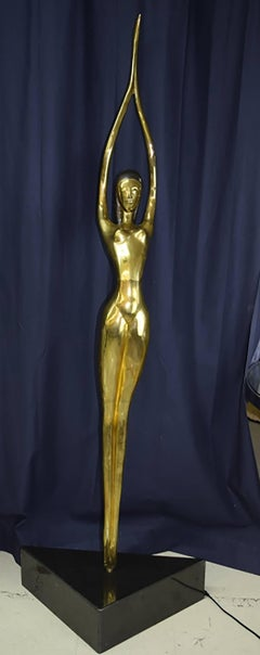 Very Large Modernist Solid Brass Female Nude Sculpture – Over 6 Feet Tall