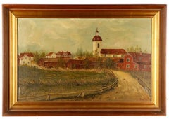"19th Century Landscape Oil by Fr Hofstetten Entitled ""View Of Village"""
