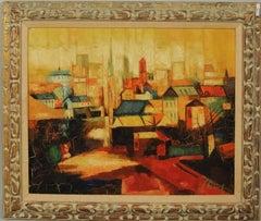 "Historic Oil Painting by Antoni Clavé Sanmartin Entitled ""Village Scene"""