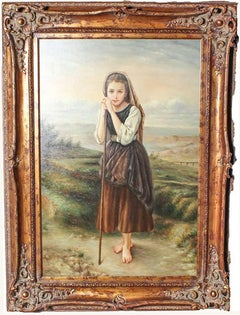 Large Oil Painting in the Manner of Bouguereau Style