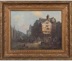 19th Century Cityscape Oil Painting Attributed to Morton Muller