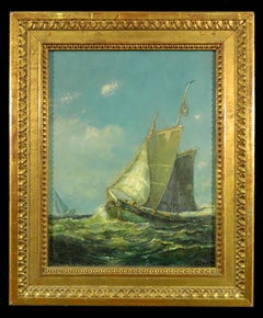 Antique Marine Oil Painting by Frederick Leo Hunter