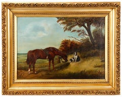 "Oil Painting by John Frederick Herring Sr. Entitled ""Horse and Hound at Pasture"""