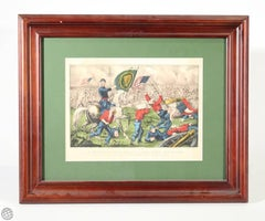 Original Currier & Ives Hand Colored Lithograph of the Civil War Battle of Bull