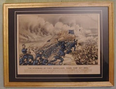 Original Civil War Currier & Ives Hand Colored Lithograph – The Storming of Fort