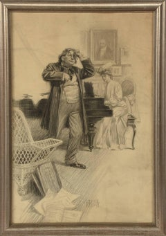 George Brehm Graphite Illustration of an Interior Scene