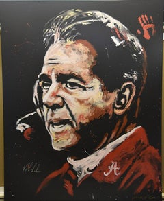 Monumental & Historic Nick Saban Painting - Signed & Hand Print by Saban