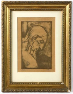 "Georges Roualt Signed Woodblock Print Entitled ""Portrait of Christ"""