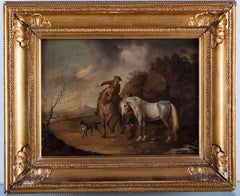 """Francis Wheatley 18th Century English Oil Painting Entitled """"Horses with Riders"""""""