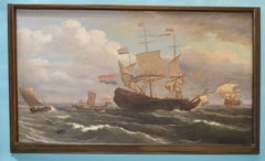 Large Nautical 19th Century Oil Painting by Louis Barnaba
