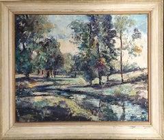 Large American Modernism Landscape / Riverscape Oil Painting