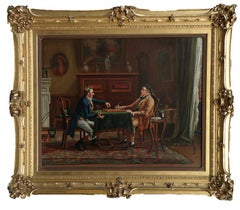 """Large English School Oil Painting entitled """"The Players"""""""