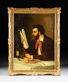 """19th Century Portrait Oil Painting by Charles Baier """"Man Reading"""""""