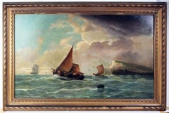 Large 19th Century Dutch Marine Oil Painting of Ships off the Coast