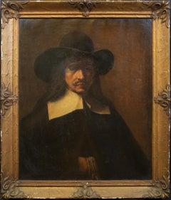"19th Century Portrait Oil Painting Entitled ""Portrait of a Man"" with Black Hat."