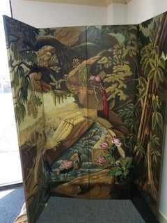 "Very Large Hand Painting ""Matland-Smith"" Tropical Room Divider"