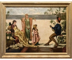 "19th Century German Oil Painting by Lambert Oehm Entitled ""Palace Balcony"""