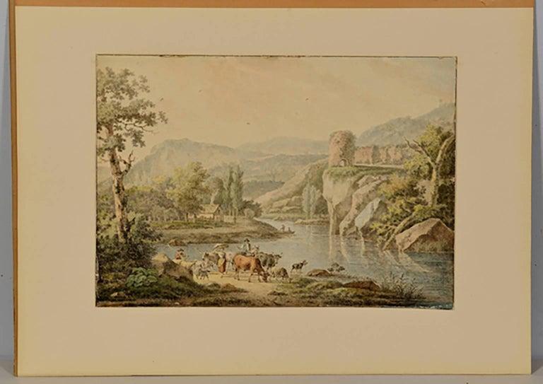 18th Century Henrious Josephus Antonissen Watercolor - Brown Figurative Art by Josephus Antonissen