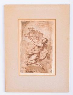 "Nicola Grassi Pen & Wash Drawing Entitled ""Angel"""