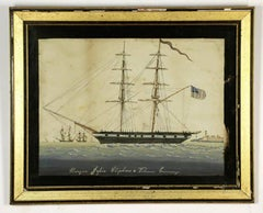 Nautical 19th Century Watercolor Painting by Antonio Jacobsen