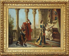 """19th Century Italian Oil Painting by Giuseppe Carnelli Entitled """"At The Altar"""""""