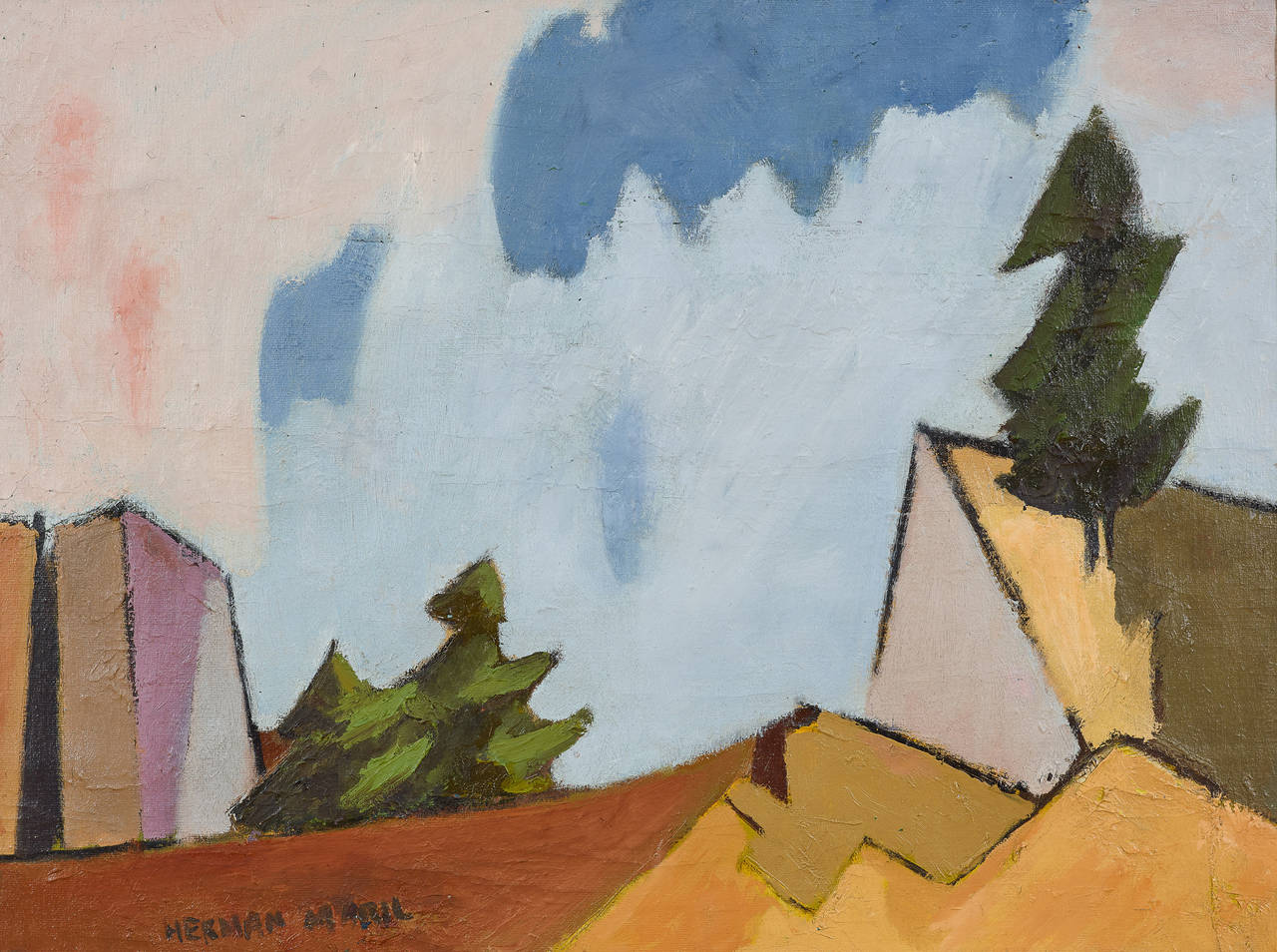 Herman Maril Pine Trees And Dunes Painting At 1stdibs